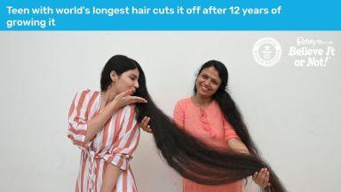 Момичето с най-дълга коса я отряза (видео)