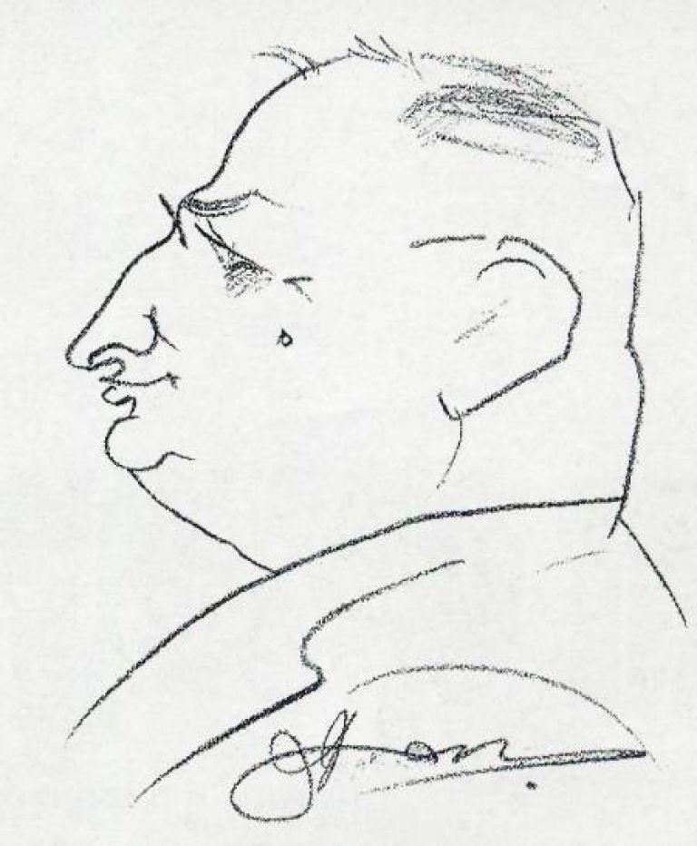 """Портрет на проф. Зайков, рисуван от неизвестен художник в кафене """"България"""""""