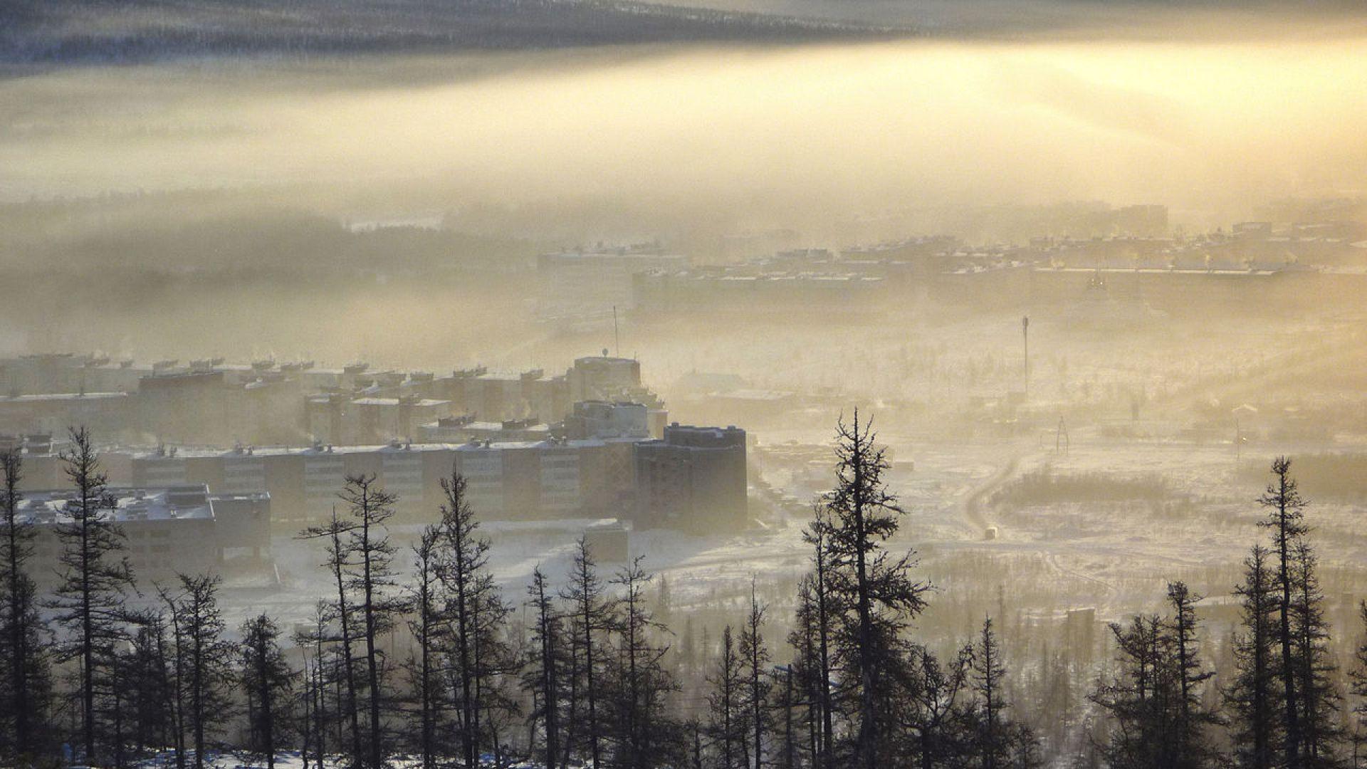 Зимните мъгли над Билибино, където температурата достига до −60 градуса по Целзий