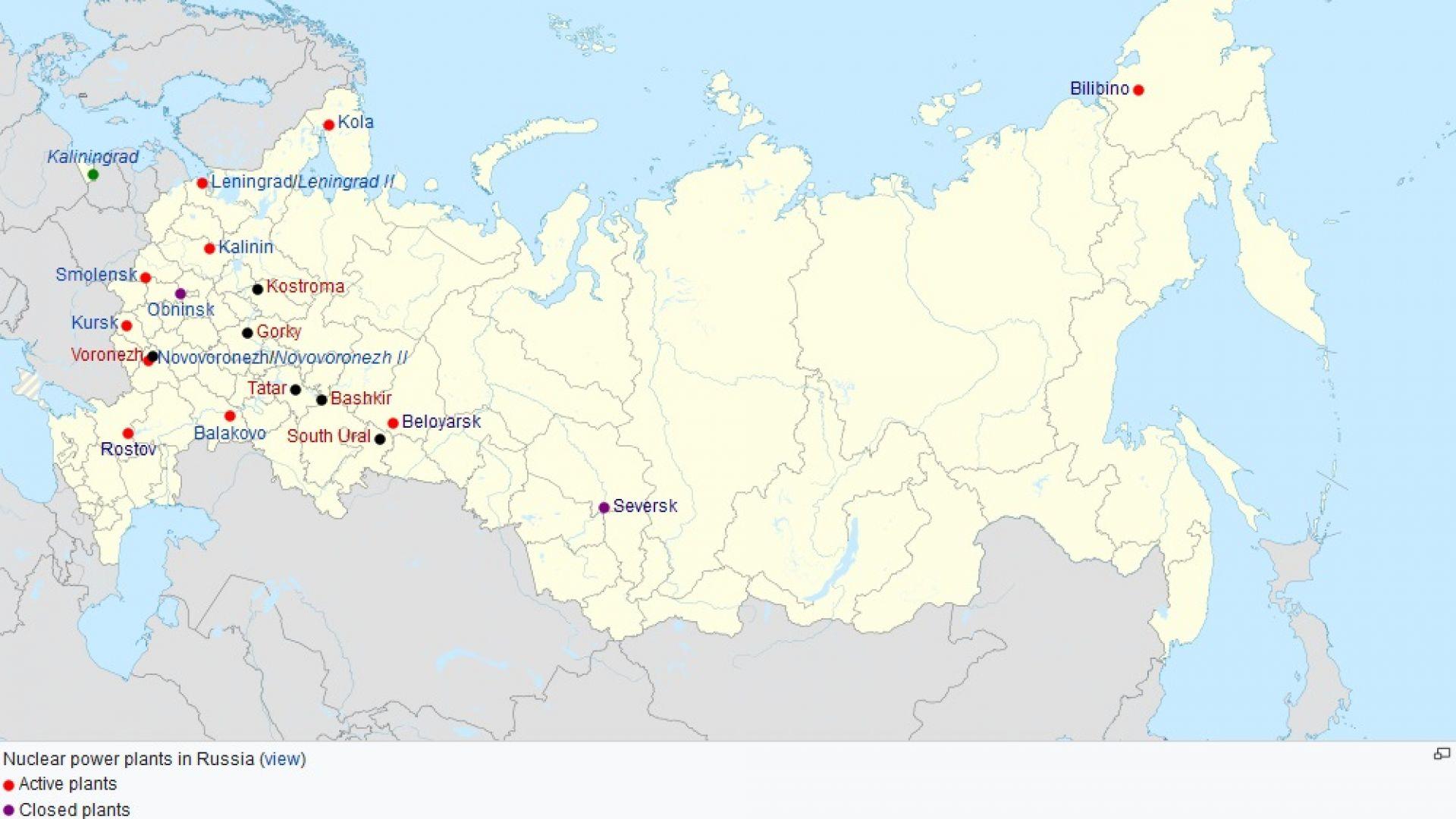 Карта, показваща построените в Русия АЕЦ-и