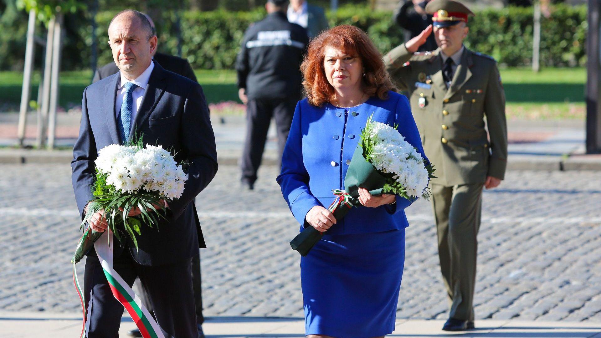 Румен Радев и Илияна Йотова почетоха 76 г. от победата над нацизма и Деня на Европа