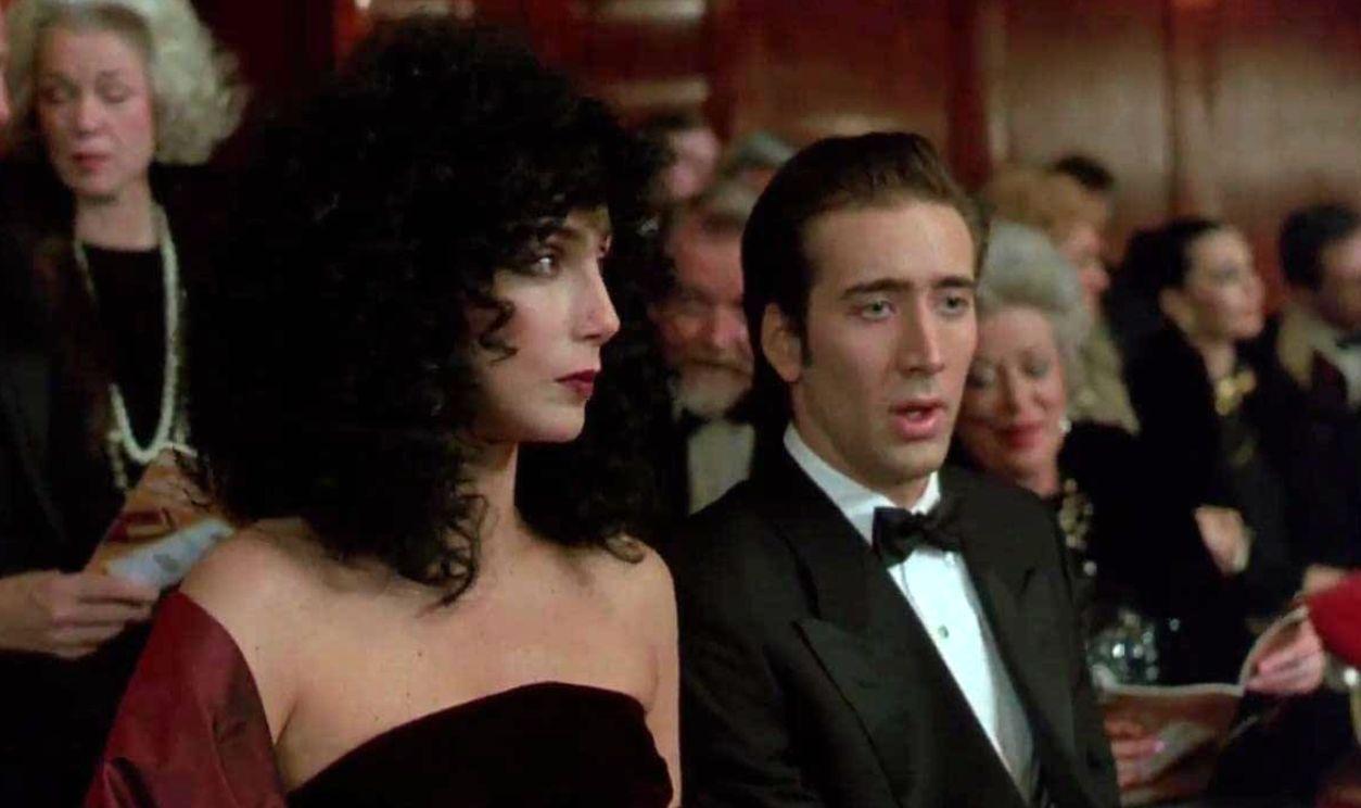"Шер и Никълъс Кейдж в ""Лунатици"" (1987) на режисьора Норман Джуисън"