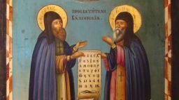 Икона на Св. св. Кирил и Методий с рядко срещано изображение