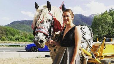 Единствената абитуриентка от гимназия в Банско отиде на бал с каруца и кон-далматинец