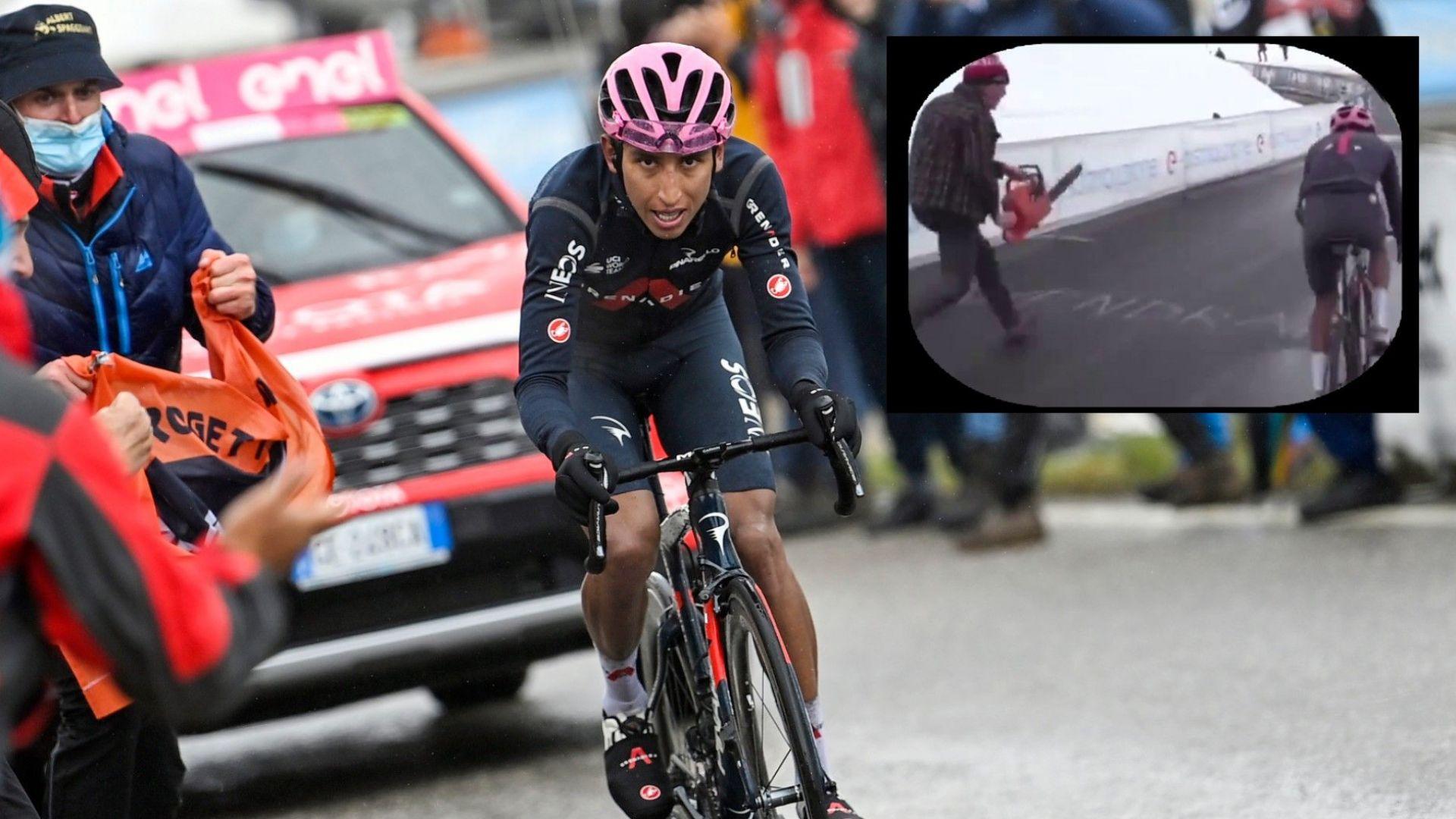 """Скандал на """"Джиро""""-то, фенове пресрещнаха с бензинови резачки лидера Бернал"""