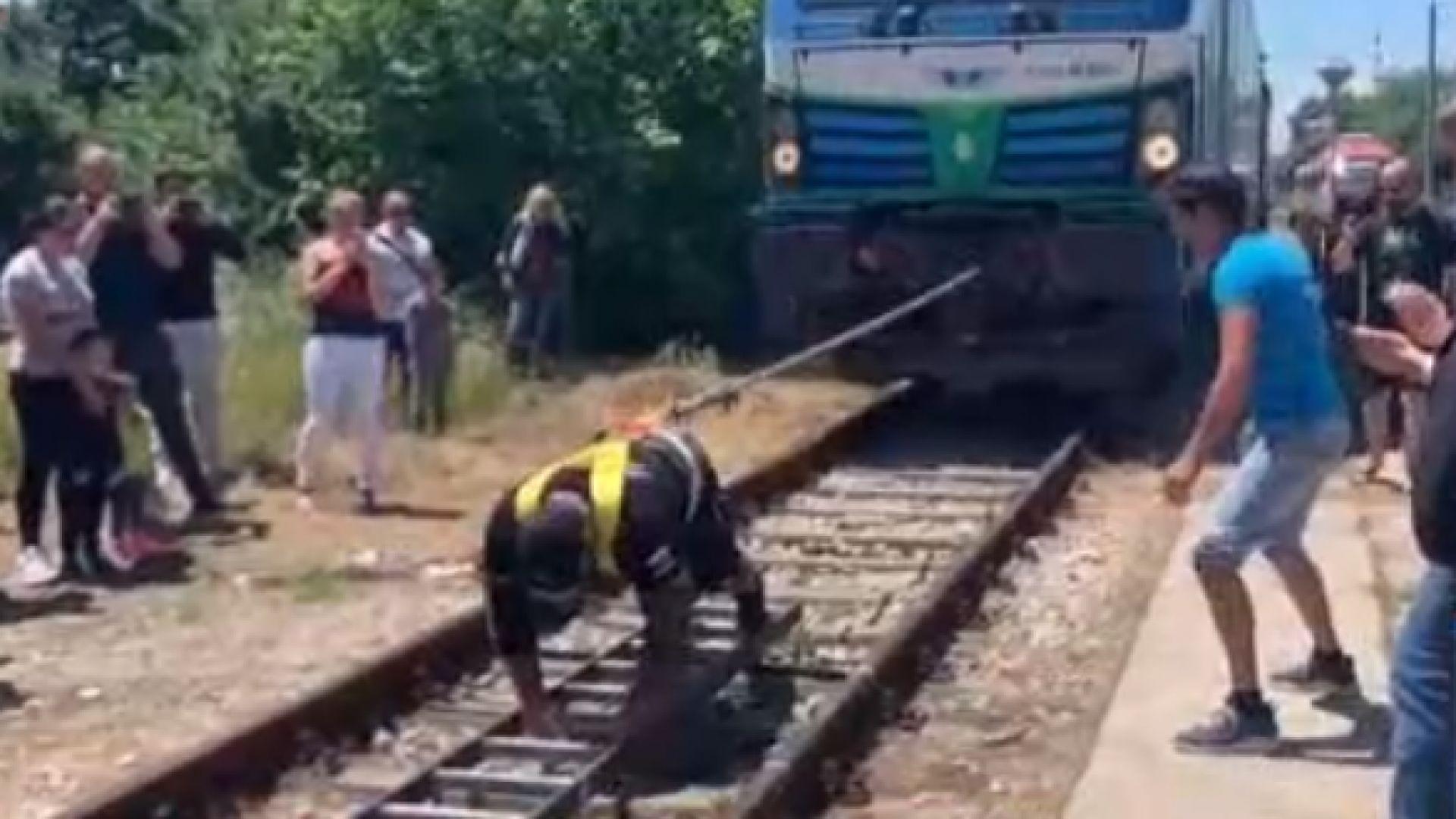 Рекорд на Гинес - пловдивски полицай изтегли 84-тонен локомотив