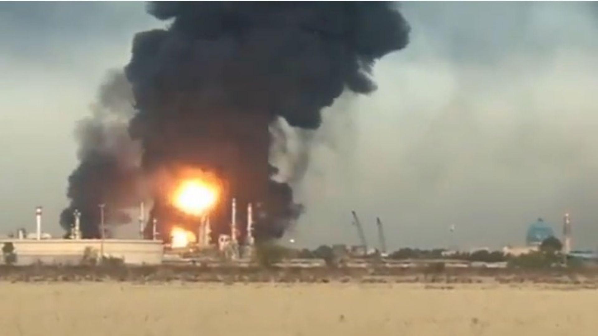 Голям пожар избухна в рафинерия в Техеран (видео)