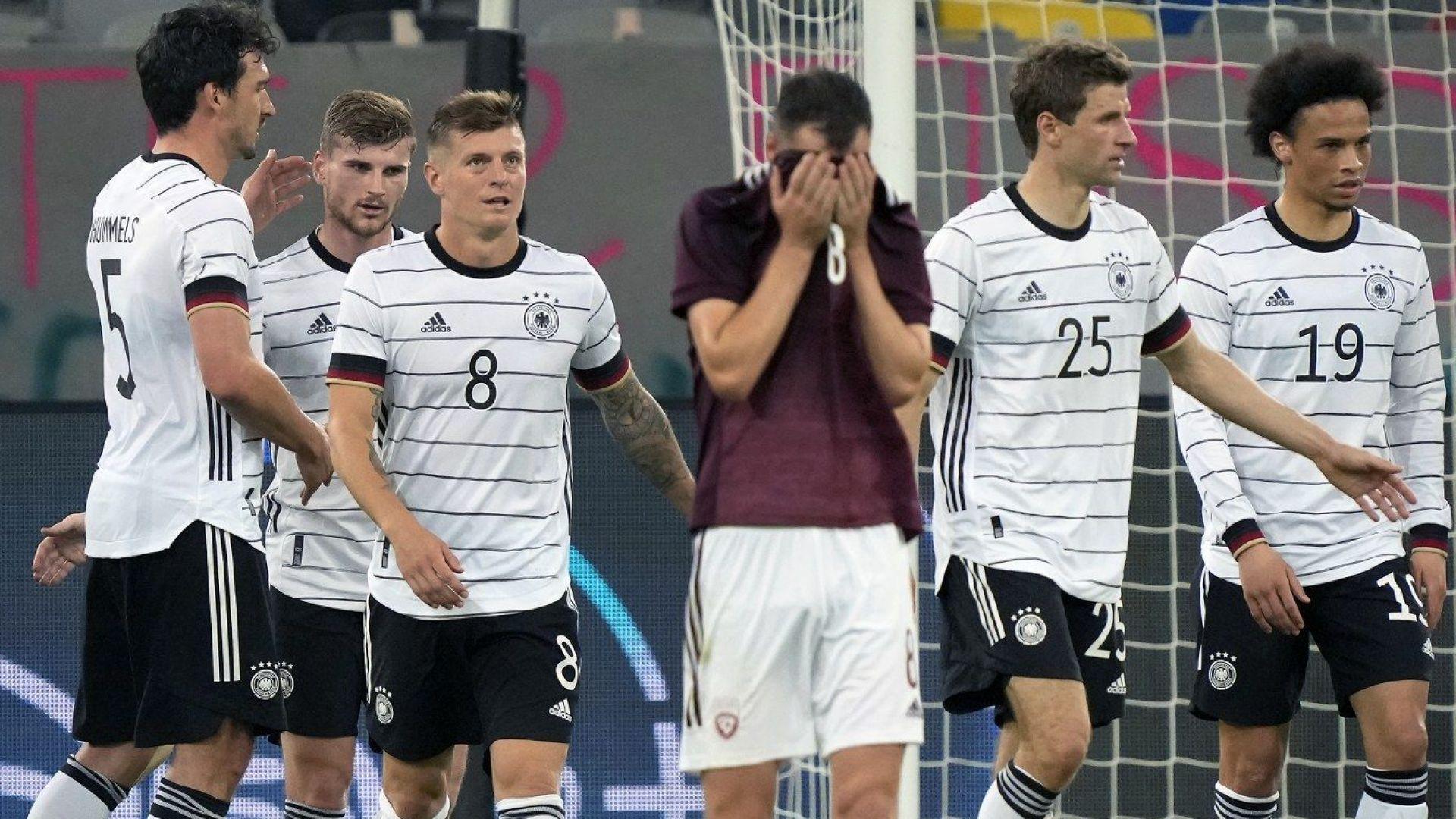 Германия загря за Евро 2021 със седем гола в Дюселдорф