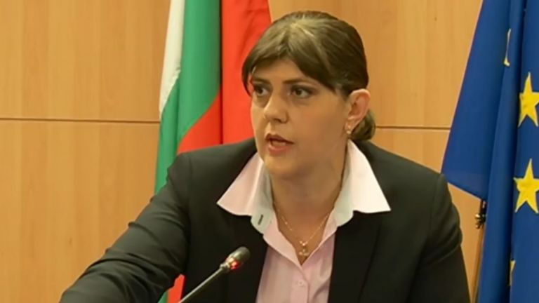 Европейския главен прокурор Лаура Кьовеши прави изявление и отговаря на