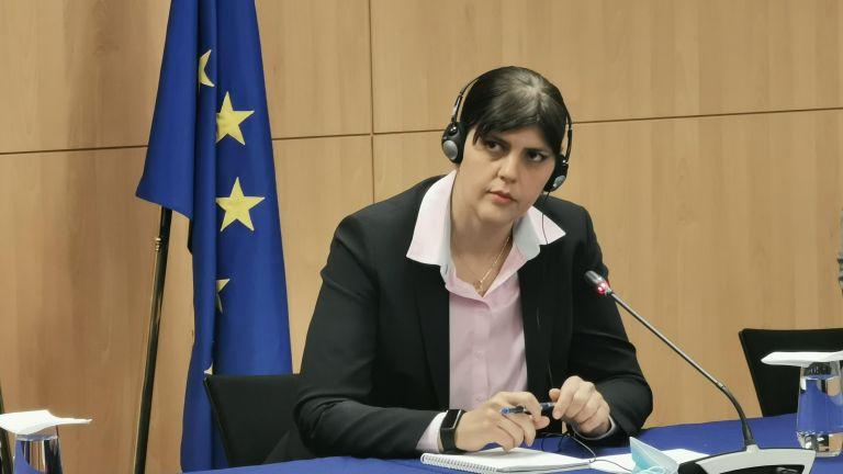 Европейският главен прокурор Лаура Кьовеши прави изявление и отговаря на