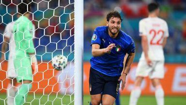 """Евро 2020: Италия - Швейцария 1:0 (на живо), """"скуадра адзура"""" държи юздите на мача"""