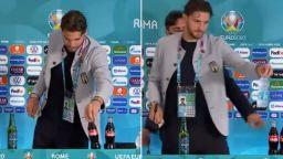 """Италианският голмайстор повтори Кристиано и махна бутилките на """"Кока Кола"""""""