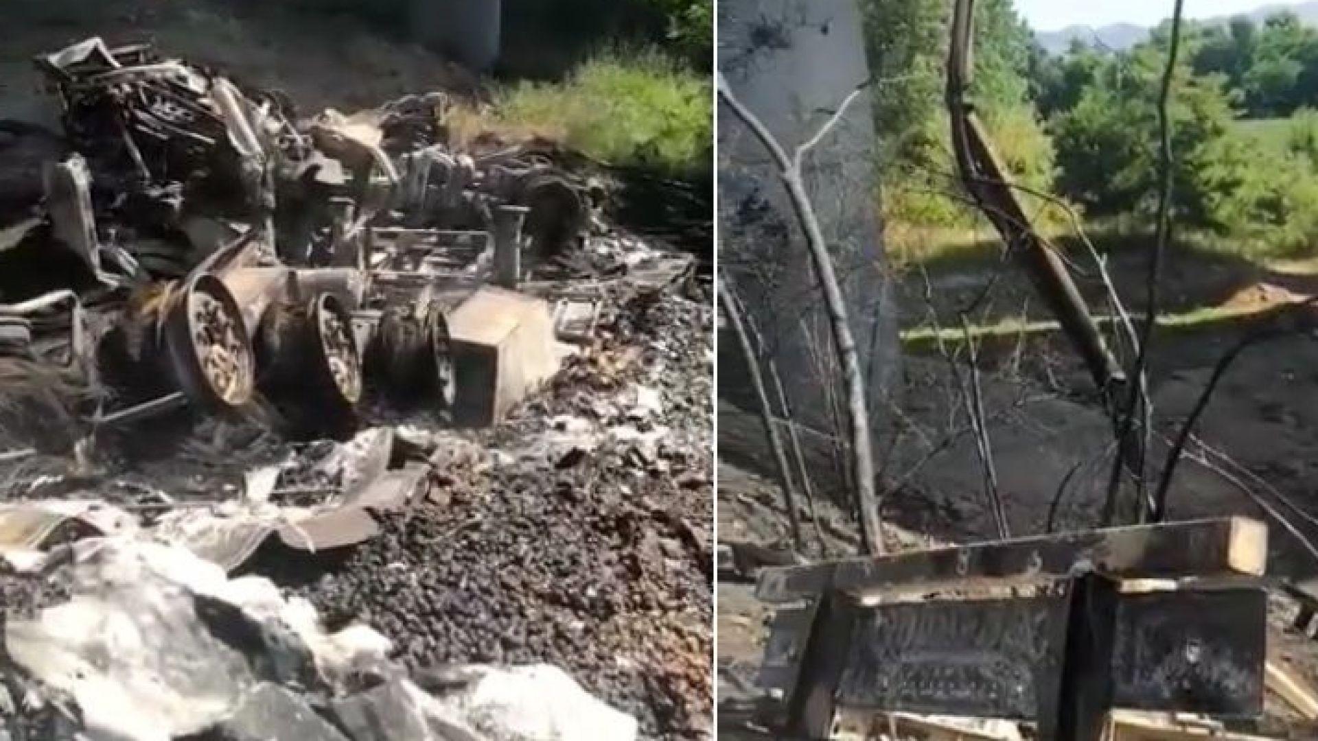 """ТИР падна на жп линия от """"Хемус"""", запали се, а шофьорът му загина (видео)"""