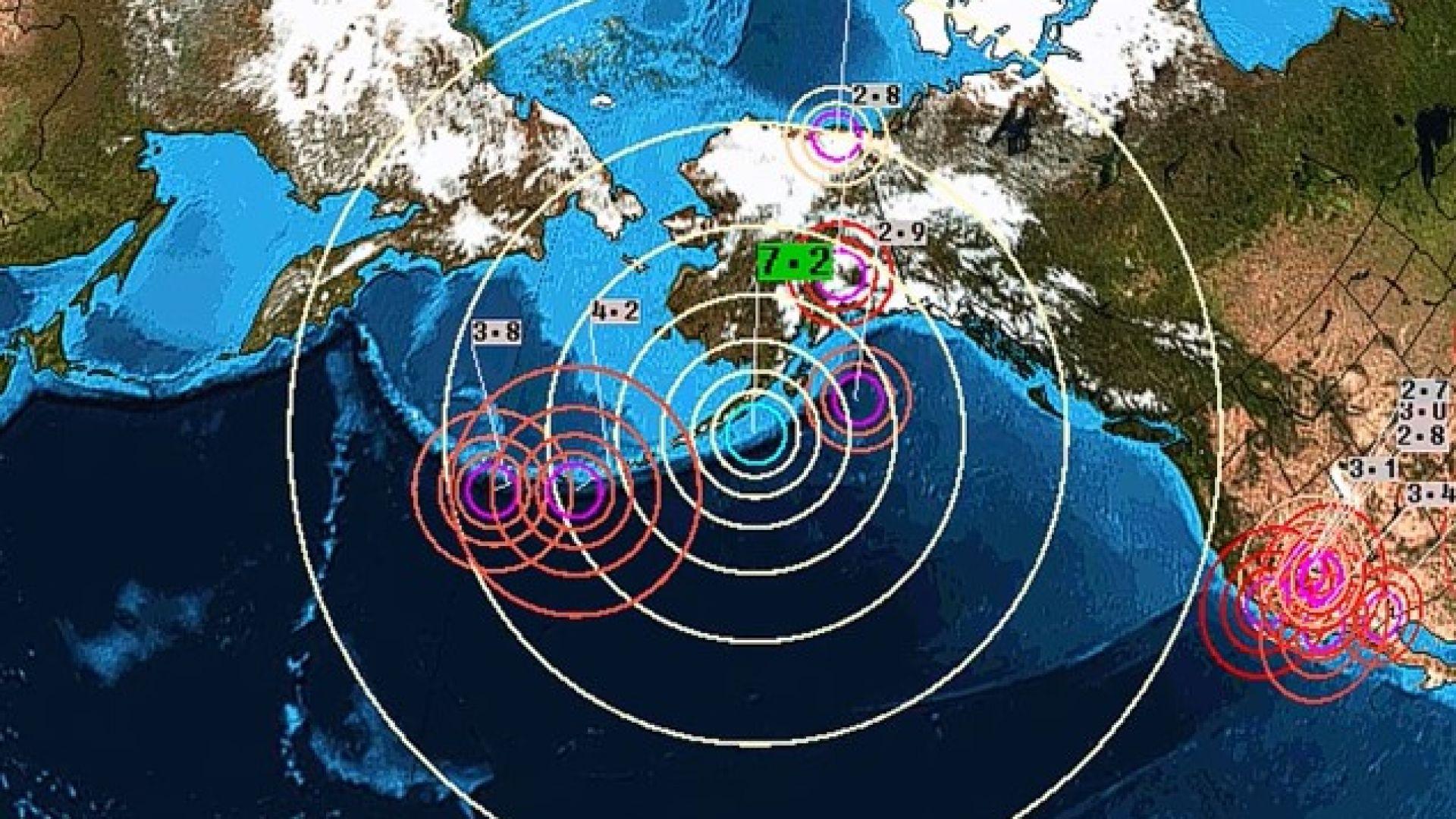 Трус от 8,2 по Рихтер край бреговете на Аляска (видео)