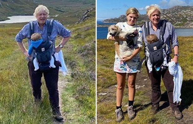 Борис Джонсън и съпругата му Кари по вреаме на ваканцията им в Шотландия миналата година