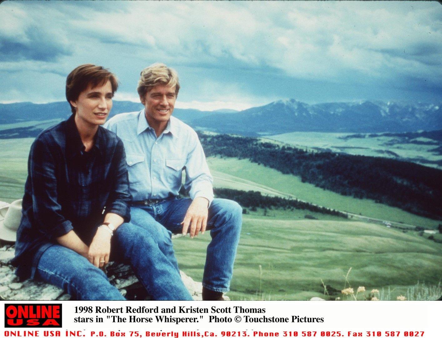 """Робърт Редфорд и Кристен Скот Томас в """"Повелителят на конете"""" от 1998 г."""