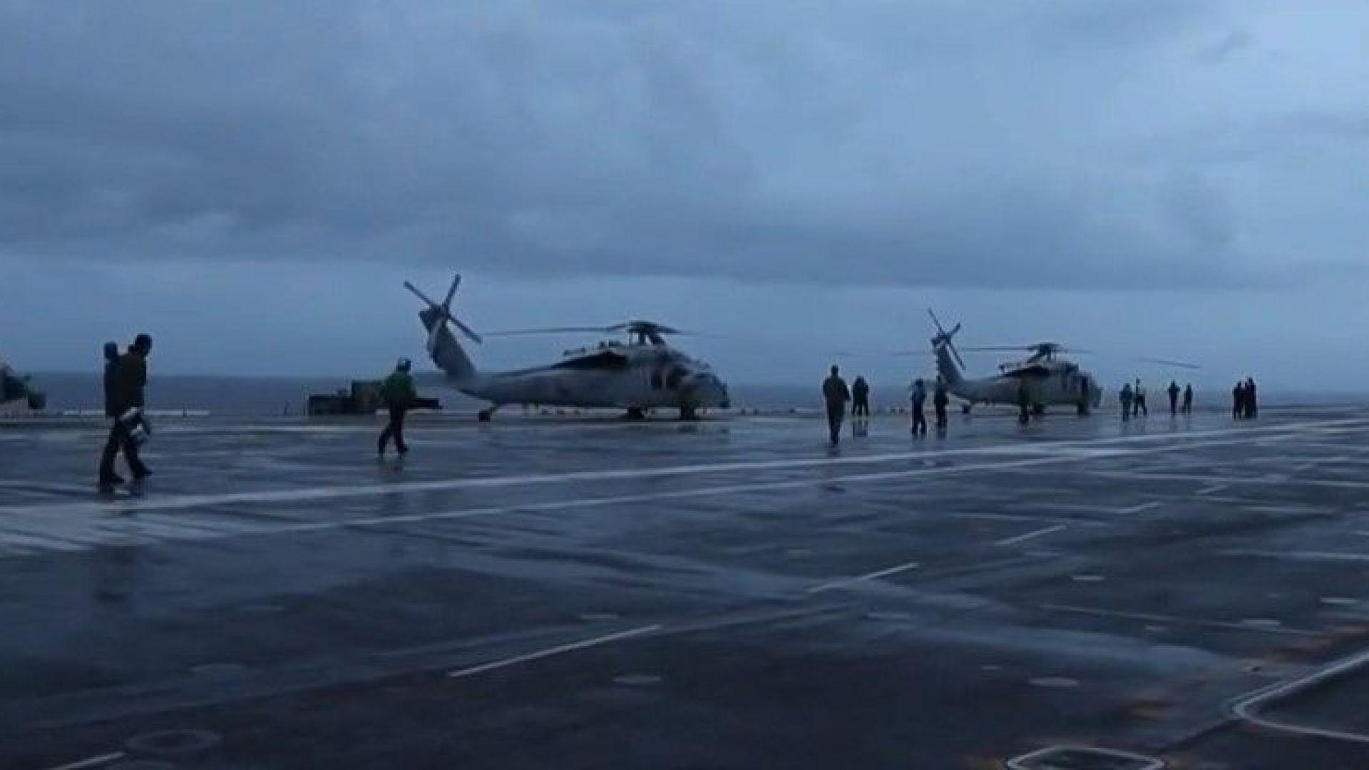 Хеликоптер на Военноморските сили на САЩ се разби в Тихия океан (видео)