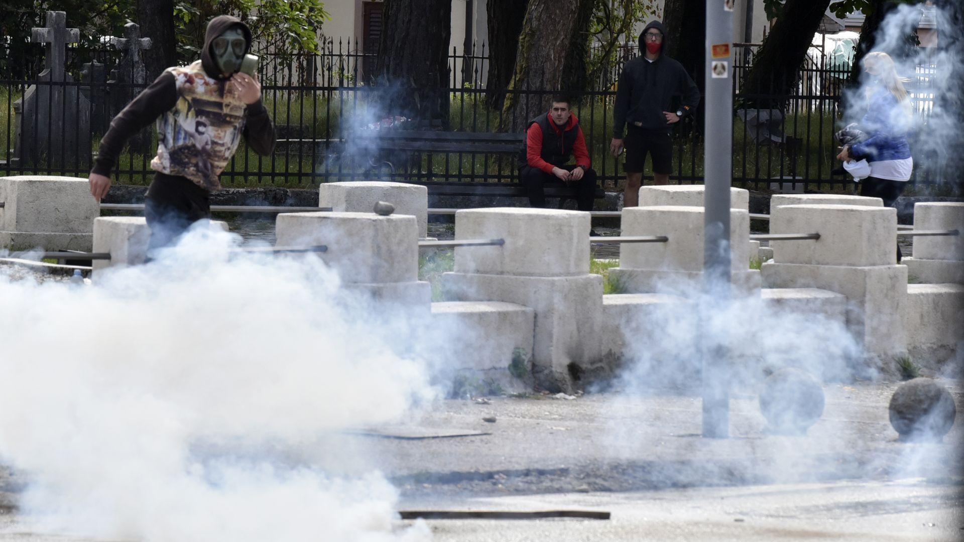 Задържан е съветник на президента на Черна гора при сблъсъци в Цетине (снимки)