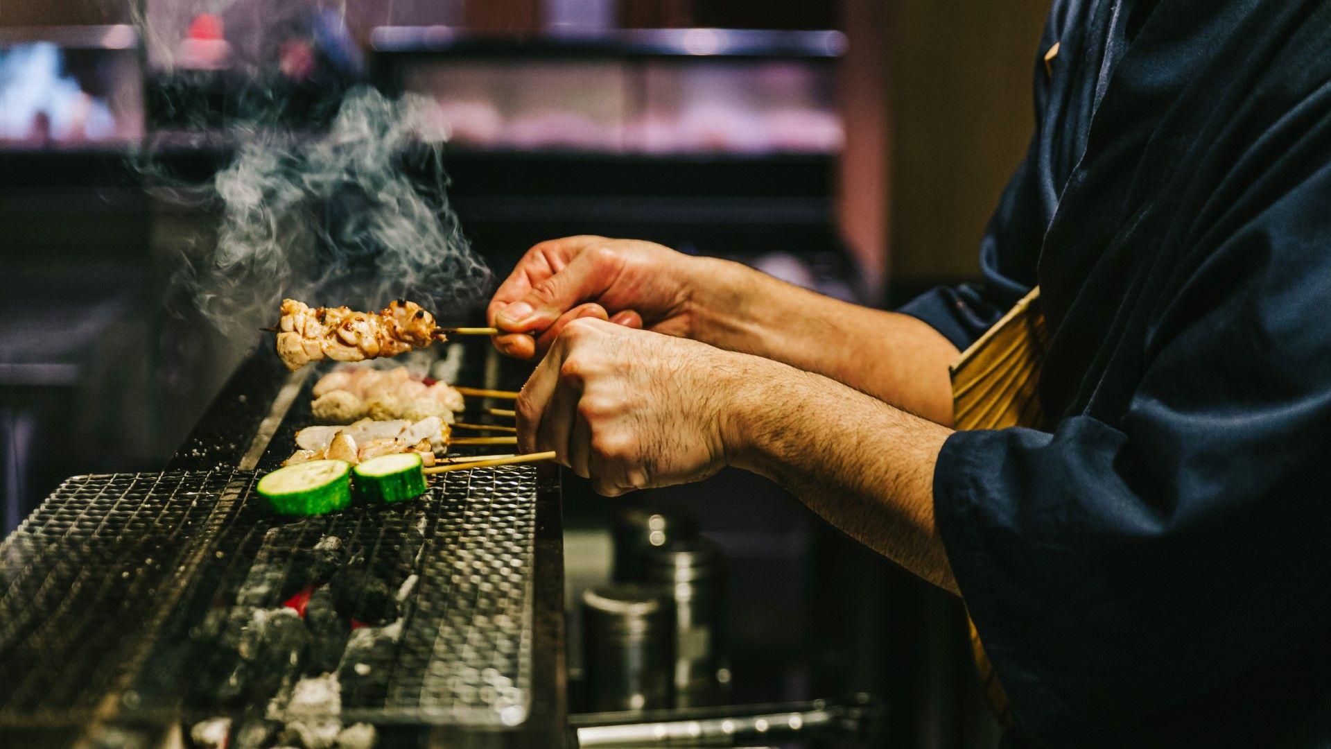 Пиле и зеленчуци на скара в Киото