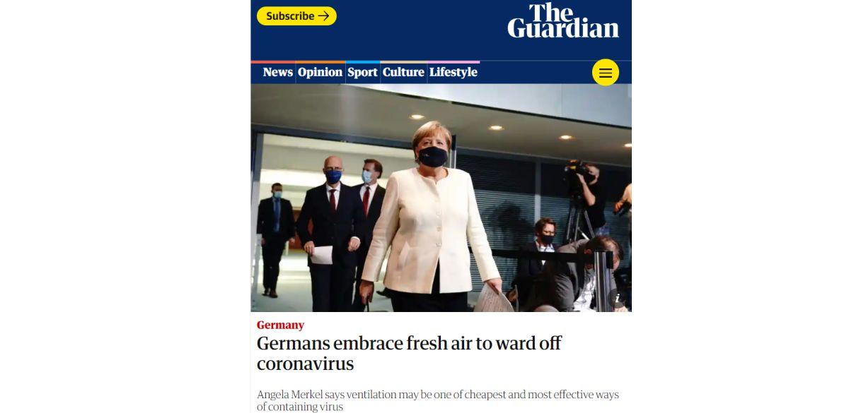 """Статия на Британското издание """"The Guardian"""" цитира Германският канцлер, г-жа Ангела Меркел, че вентилацията е може би най-евтиното и най-ефективно решение за справяне с вируса."""