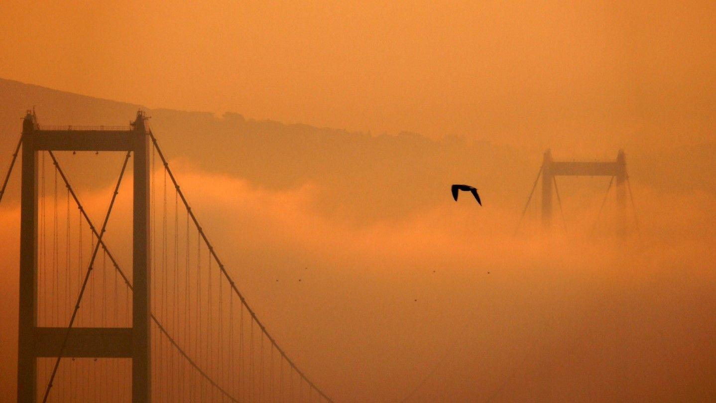 Босфорският мост в Истанбул в сутрешната мъгла