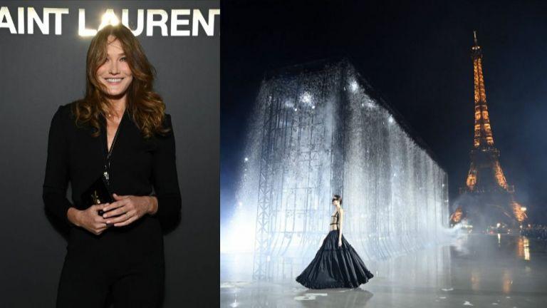 Бившата първа дама на Франция Карла Бруни-Саркози присъства на ревюто на Yves Saint Laurent