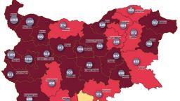 """18 области """"светят"""" в тъмночервено на Covid-картата, само Кърджали е в жълто"""